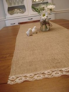 burlap and vintage lace table runner by wteresa