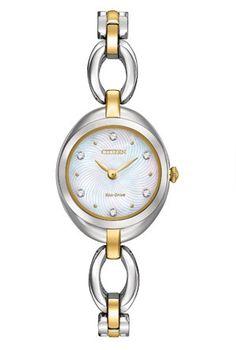 Citizen Women's Eco-Drive Silhouette Crystal Two-Tone Stainless Bracelet Watch Stainless Steel Watch, Stainless Steel Bracelet, Crystal Bracelets, Link Bracelets, Swarovski Watches, Ladies Dress Watches, Citizen Eco, Woman Silhouette, Bracelet Watch