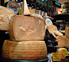 Large wheel of Grana Padana cheese from Northern Italy love it with a #Soave with the acidity to cut the richness