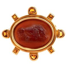 Elizabeth Locke Citrine Intaglio Gold Cameo Lion Pin   From a unique collection of vintage brooches at http://www.1stdibs.com/jewelry/brooches/brooches/