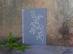 Tree Branch. Embroidered A6 Notebook. Nature Notepad. Blue Jotter. Japanese Floral Notebook. Garden Mini Journal. Spring Pocket Book
