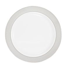 Plastic 9 Inch White Dinner Plate With Silver Diamond Band Case Of 120 Tags