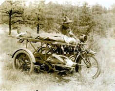 WWI. Indian motorcycle modified for use as an inexpensive but effective ambulance during the warmer months