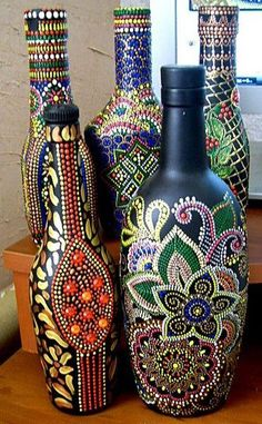 Set of # bottles # dot # main # club, # club # and # forum # for communication # – # sperm whale glass bottle crafts Painted Glass Bottles, Glass Bottle Crafts, Wine Bottle Art, Decorated Bottles, Bottle Vase, Recycled Wine Bottles, Dot Art Painting, Altered Bottles, Bottle Painting