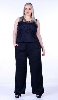 Show Macacão Pantalona Sofia Strech Renda Viscose Plus Size 52 54 Festas 1f9362ade6