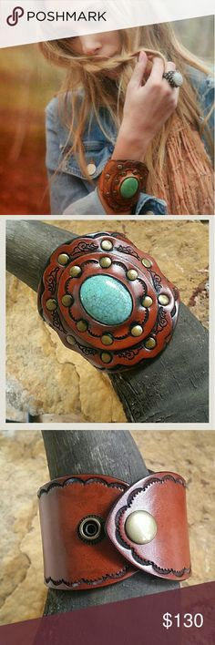 Boho Leather Turquoise Cuff Handcrafted original design leather boho turquoise stone cuffs! Vegetable tanned real leather tooled, aged and riveted for an Exquisite Masterpiece of leather Perfection. Bohemian wide arm piece style. These were sold at Free People from Three Bird Nest & our Boutique quality amazing pieces. Will fit most wrist sizes up to 8 inches., double snap closure. Due to the handmade nature of the Cuffs variations in the exact leather finish will happen but are minimal…