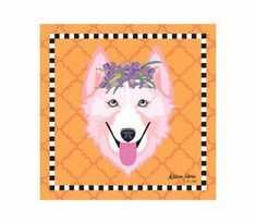Husky Pet Portrait Art Print Illustration Wrapped by AllisStudio