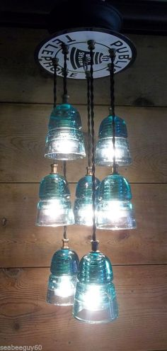 Glass Insulator Pendant Light Fixture-Public Telephone Steampunk 7 Green Lights