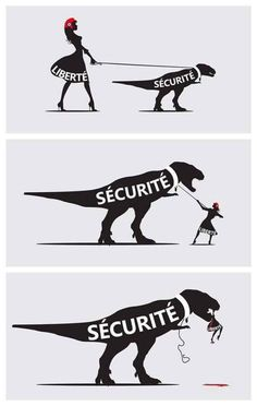 Liberty and security can only coexist if they are in balance. If the preference is for security, then forget liberty. Satire, Illustrations, Illustration Art, Street Art, Art Watch, Political Cartoons, Best Funny Pictures, Funny Pics, Art Quotes