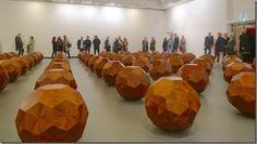 81 Wooden Balls Installation by  Ai Weiwei in  bergen art museum