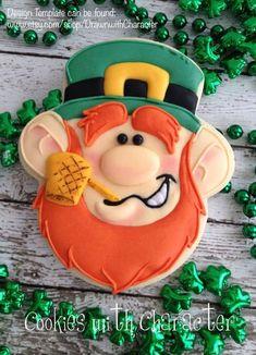 patricks day cookies Leprechaun with Pipe/ Digital Stamp Art/ KopyKake Image- St Patrick's Day Cookies, Fancy Cookies, Iced Cookies, Royal Icing Cookies, Holiday Cookies, Sugar Cookies, Irish Cookies, Kawaii Cookies, Frosted Cookies