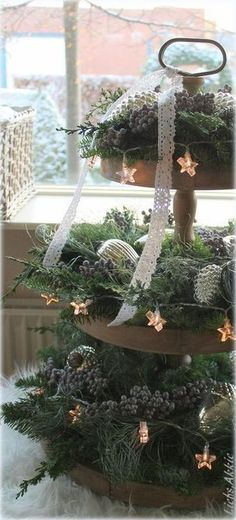 Home Decorating Ideas Bathroom Etageren are so versatile! The most beautiful etageren in the Christmas style! The num . Christmas Decor ~ a little greenery, some lights and spray painted pine cones or a 3 tiered stand. Rustic Christmas by Akkie So pretty Noel Christmas, Green Christmas, Country Christmas, Winter Christmas, All Things Christmas, Christmas Wreaths, Christmas Crafts, Christmas Greenery, Christmas Music
