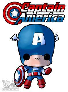 Versión ya terminada a color de nuestro Capitán América kawaii para las camisetas Nikochan.