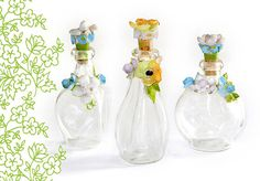 Miniature Glass Floral Perfume Bottle Set of 3 by OhWowGlassware, $30.00