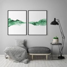 Abstract, liquid, and dissolving forms harmonized in minimalist fashion form a horizontal line on this 2 piece poster set. Watercolor technique supports different shades of blue color, leaving the impression of sensitivity and subtlety.Blue is the color o Green Watercolor, Abstract Watercolor, Abstract Art, Abstract Landscape, Watercolor Fashion, Watercolor Artists, Watercolour, Blue Shades Colors, Grey Wall Art