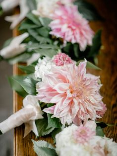 Blush Dahlia Bridesmaid bouquets Casa Larga Vineyards Wedding Flowers by Stacy K Floral in Fairport NY | Captured by Brandon Lata Photography | Dahlia Bridesmaid Bouquets