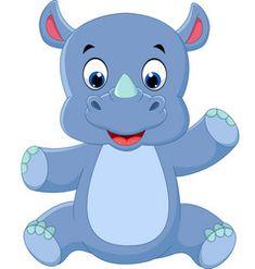 Baby Rhino - Cute Baby And Animal Pictures Sheep Cartoon, Cartoon Monkey, Cartoon Panda, Big Animals, Animals Images, Jungle Animals, Baby Rhino, Shapes For Kids, Cute Animal Illustration