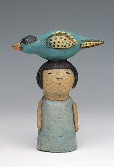 ceramic figure with bird by Sara Swink – Ceramic Ceramic Birds, Ceramic Clay, Ceramic Pottery, Pottery Art, Slab Pottery, Pottery Studio, Porcelain Ceramic, Ceramic Vase, Pottery Sculpture