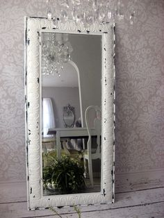 Huge Leaning Mirror Ornate White Mirror Tin by smallVintageAffair