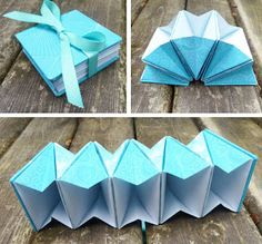 """More modular origami today. This accordion structure is made from nine origami boxes which are connected to each other by inserting side flaps into side pockets, no adhesive needed. I have attached hardcovers to each end to make it more bookish."""