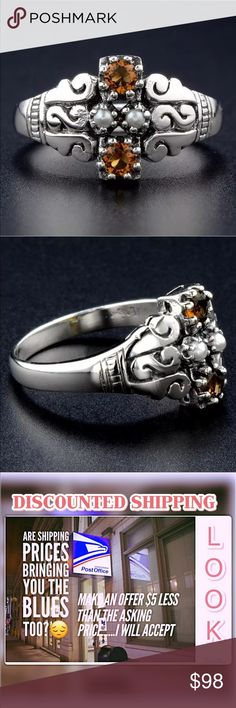 Sz 7 Smoky Topaz Pearl Solid Silver Victorian Ring SMOKY TOPAZ, SEED PEARL, GENUINE 925 SOLID STERLING SILVER RING SIZE 7. ITEM IS STAMPED 925.THIS ITEM IS MADE OUT OF ORIGINAL VICTORIAN MOULD FROM VICTORIAN ERA WITH INTRICATE FILIGREE DESIGN. GUARANTEED  Jewelry Rings