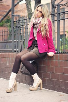 White slouched socks, tights, tan heels, pink blazer, loafers