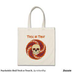 Psychedelic Skull Trick or Treat Bag