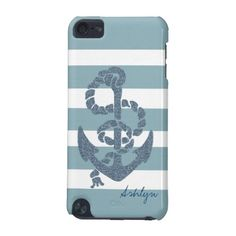 Nautical Stripes Anchor iPod touch 5th gen. case