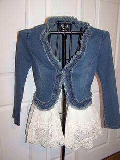 Denim and Lace Upcycled Bohemian, Gypsy, Shabby Chic Jacket by melva