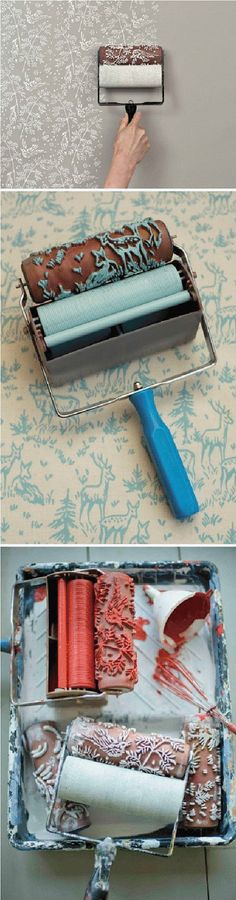 Patterned Paint Roller in Spring Bird Design,by It's Not Wallpaper Patterned Paint Rollers. $22.00, via Etsy. SO COOL!