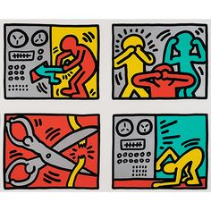 Bid now on Pop Shop Quad III by Keith Haring. View a wide Variety of artworks by Keith Haring, now available for sale on artnet Auctions. James Rosenquist, Keith Haring Art, Pop Art Movement, Claes Oldenburg, Jasper Johns, Roy Lichtenstein, Andy Warhol, Graffiti Art, Paintings For Sale