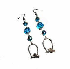 SALE Adorable 4 Tier Silver Perched Dove in Twisted Cage Charm Earrings w/Prism Striped Blue Beads Glass Gemcut & Metal Accent FREE SHIPPING - Only $5.95 on Etsy! https://www.etsy.com/listing/229297429/sale-adorable-4-tier-silver-perched-dove