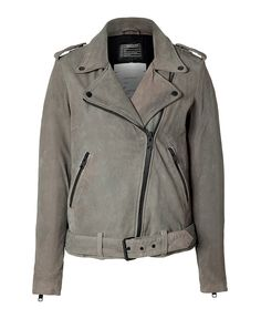 Rendered in distressed grey sueded leather, this biker jacket from Current/Elliott adds urbane edge and an effortless-cool finish to casual looks #Stylebop