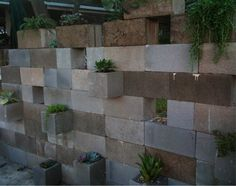 Another view of cinder block wall they left some without plants for tea light candles in glass votive's. LOVE!