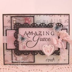Stamps - Our Daily Bread Designs How Sweet the Sound, Stamped By - Butterfly, Amazing Grace Hymn Background, ODBD Shabby Rose Paper Collection, ODBD Custom Flourished Star Pattern Die, ODBD Custom Layered Lacey Square Dies, ODBD Custom Ornate Hearts Die
