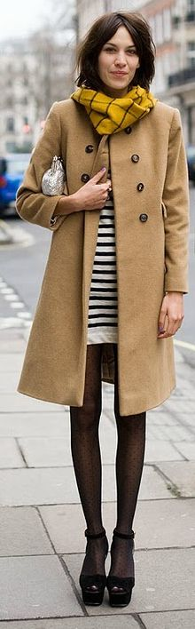 Alexa Chung: Tan Coat + Striped Dress
