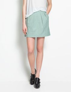 zara green skirt
