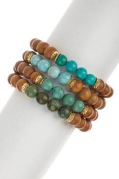 Wood & Turquoise Bracelet Set by Gold Rush. on @HauteLook