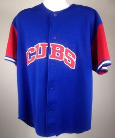 6523ccbfcb2 VINTAGE CHICAGO CUBS  21 SAMMY SOSA SEWN BLUE AND RED STARTER JERSEY ADULT  XL