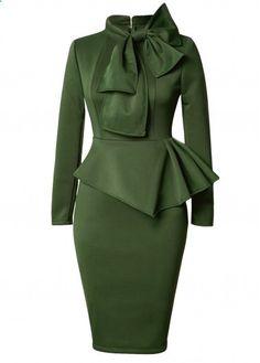 Olive Green Long Sleeve Bow Front Peplum Waist Pencil Dress