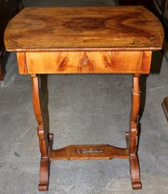 Sewing Table, Biedermeier style, cherry, 1820 - 79 cm x 64 cm x 47 cm (h x w x d), www. Bedside Tables, Entryway Tables, Sewing Table, Antique Furniture, Coffee Tables, Cherry, Antiques, Home Decor, Nightstands And Bedside Tables