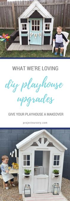Add this DIY project to your summer to-do list! We're seeing playhouse upgrades that are blowing our mind lately and these two are total faves. Give your playhouse a makeover, too! Little Tikes Playhouse, Build A Playhouse, Playhouse Outdoor, Outdoor Play, Playhouse Ideas, Outdoor Living, Backyard Playset, Patio, Project Nursery