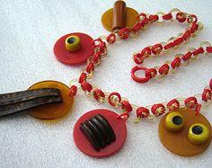 Vintage Bakelite celluloid early plastic art deco necklace - book piece, Martha Sleeper chain