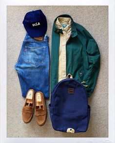 Today's Outfit. #Baracuta #G9 #GitmanVintage Oxford BD-Shirt #UCLA 6-Panel Cap 60's #VintageLevis #501 #BigE #ArchivalClothing DayPack #Alden no6243F Suede Penny Loafer #outfitoftheday #outfitgrid #OOTD #DailyFashion #Cordinate #Vintage #Fashion...
