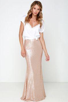 Sexy Blush Skirt - Sequin Skirt - Maxi Skirt - $93.00
