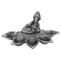 Ganesha Panch Batti Diya- White Metal Sculpture