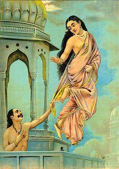 """""""Apsara(celestial  nymph) Urvashi and King Pururavas"""" by Raja Ravi Varma"""