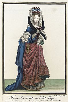 This print from 1687, on top of being my very favorite 17th century fashion print, finally shows some practicality when it comes to winter fashion.  This gentlewoman wears a very cozy looking quilted petticoat, longer sleeves and has a visible pocket slit in her over skirt that would have allowed hands to be kept warm inside the skirt.