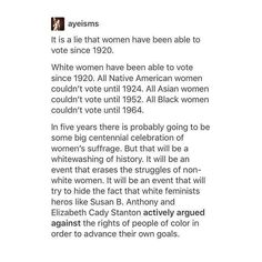 SOME women have had the right to vote since 1920... #interSectionalism