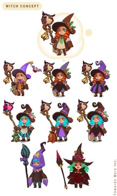 """my portfolio (concept art) for canceled project """"WITCHFARM"""". 3d Model Character, Character Design Girl, Character Design References, Character Design Inspiration, Character Concept, Character Art, Chibi, Witch Characters, Game Concept Art"""